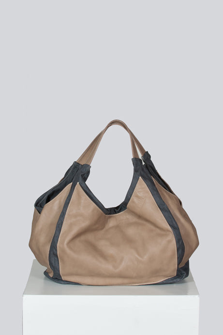 Leather and canvas sac bag by Fabianna Filippi