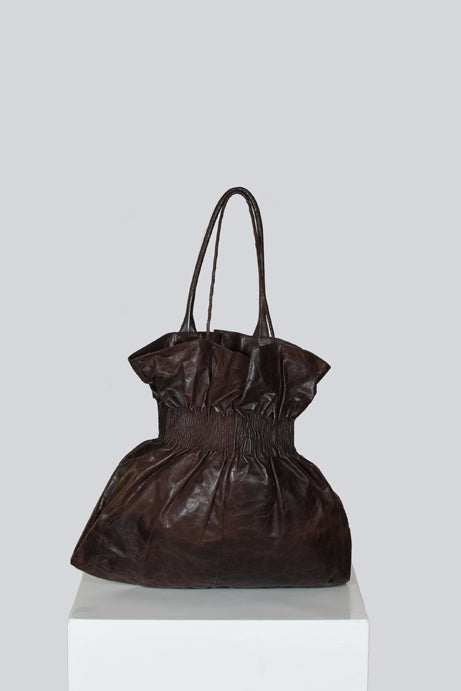 Ruched leather tote bag by Helmut Lang