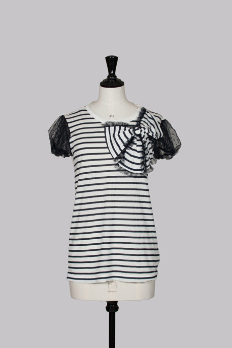 Striped top with lace sleeves and bow by Red Valentino