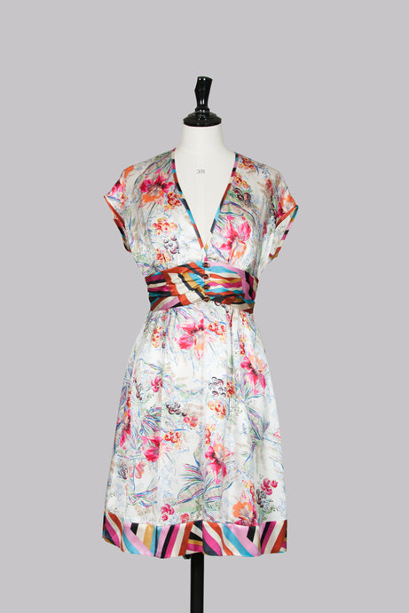 Flower-print silk dress by Single