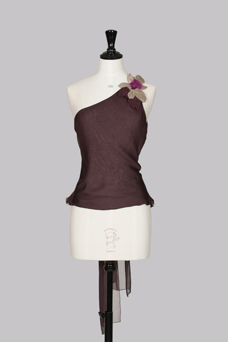 Flower-applique top with tie-back by Emporio Armani