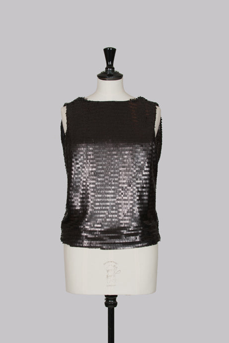 Matte-sequinned cowl-back top by Robert Rodriguez