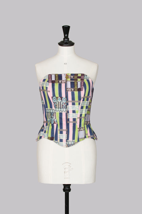 Multicoloured zip-front corset by Christian Lacroix Bazar