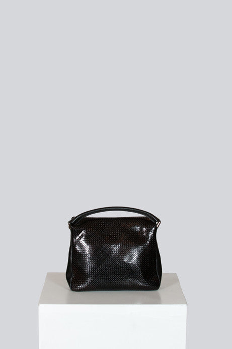 Woven leather top handle bag by Stephane Kelian