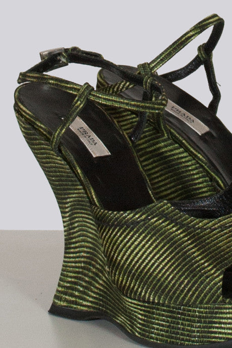 Striped Bottiglia wedges by Prada