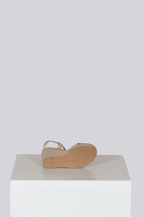 Suede and satin wedge sandals by Prada