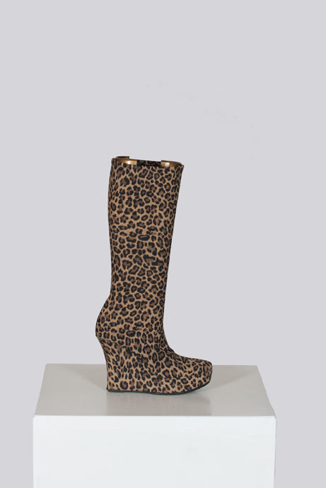 Leopard-print wedge boots by Cerruti