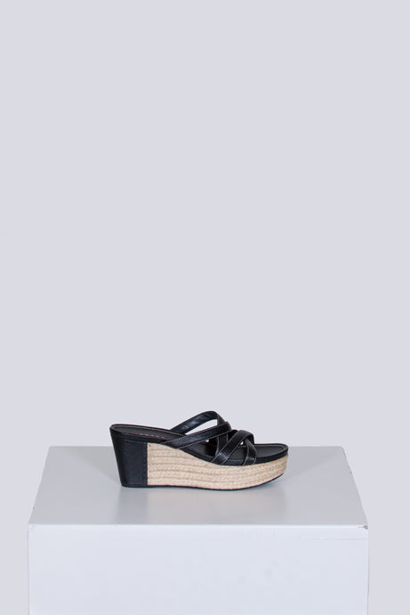 Criss-cross leather and espadrille sandals by Prada