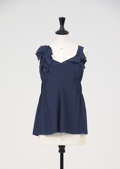Navy silk top by Prada