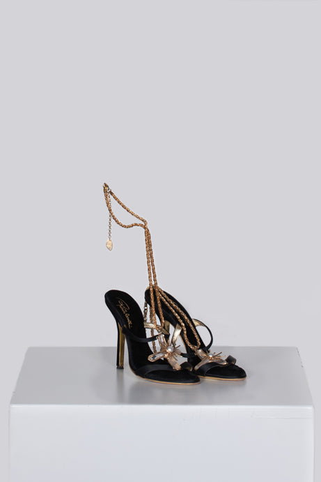 Ankle chain jewelled heels by Roberto Cavalli