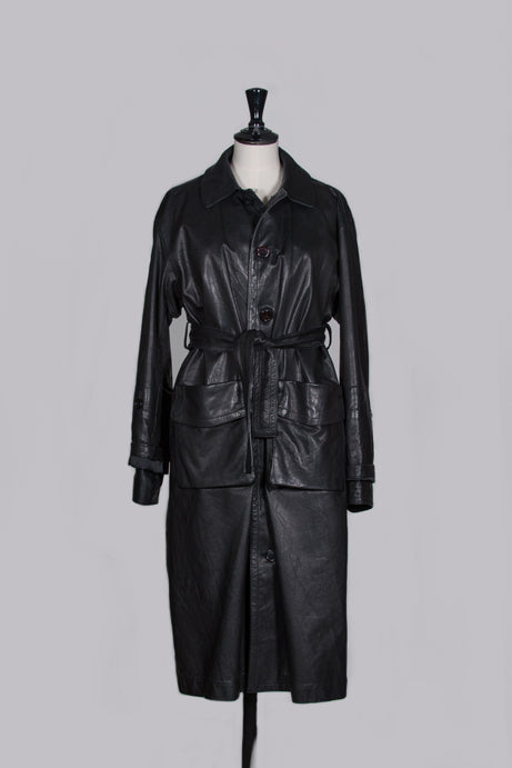 Long leather coat by Y's Yamamoto