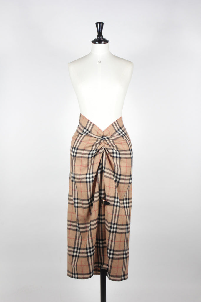 Burberry Nova Check Wool Skirt by Moschino Couture