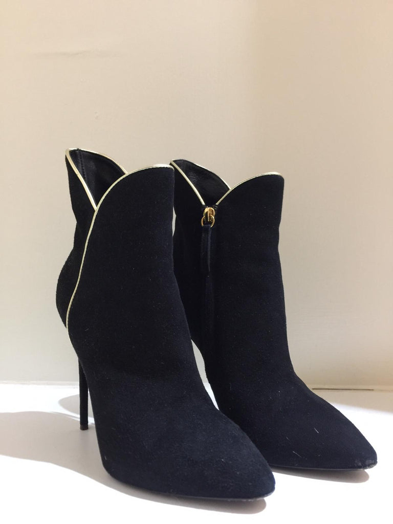 Suede Shoeboots with Gold Piping by Giuseppe Zanotti