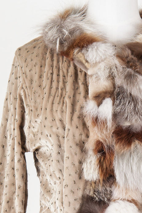 Jacket with gold threads and fur trim by Voyage
