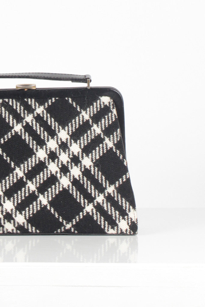 Vintage Black and White Tartan Bag by Burberry