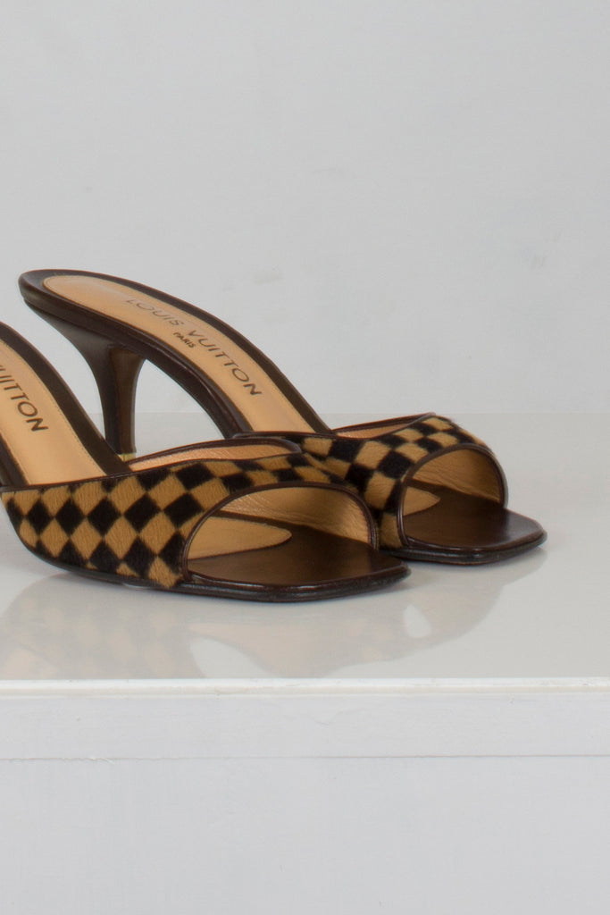 Pony Hair Damier Sauvage Mules by Louis Vuitton