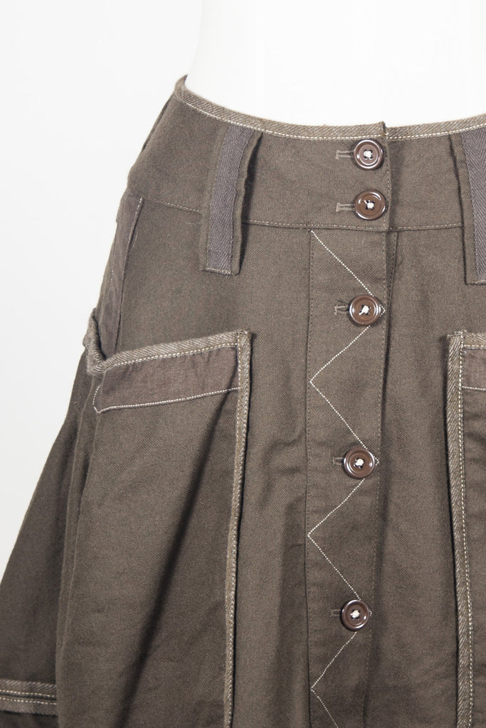 Button front wool skirt by HIGH