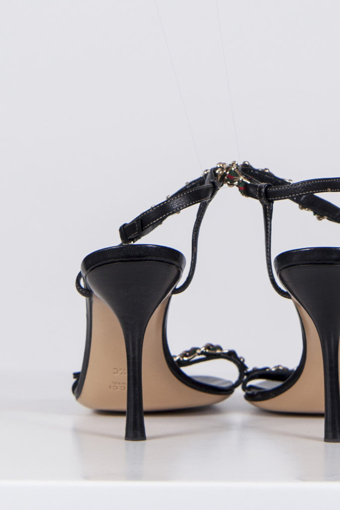 Chain and ribbon strap sandals by Gucci