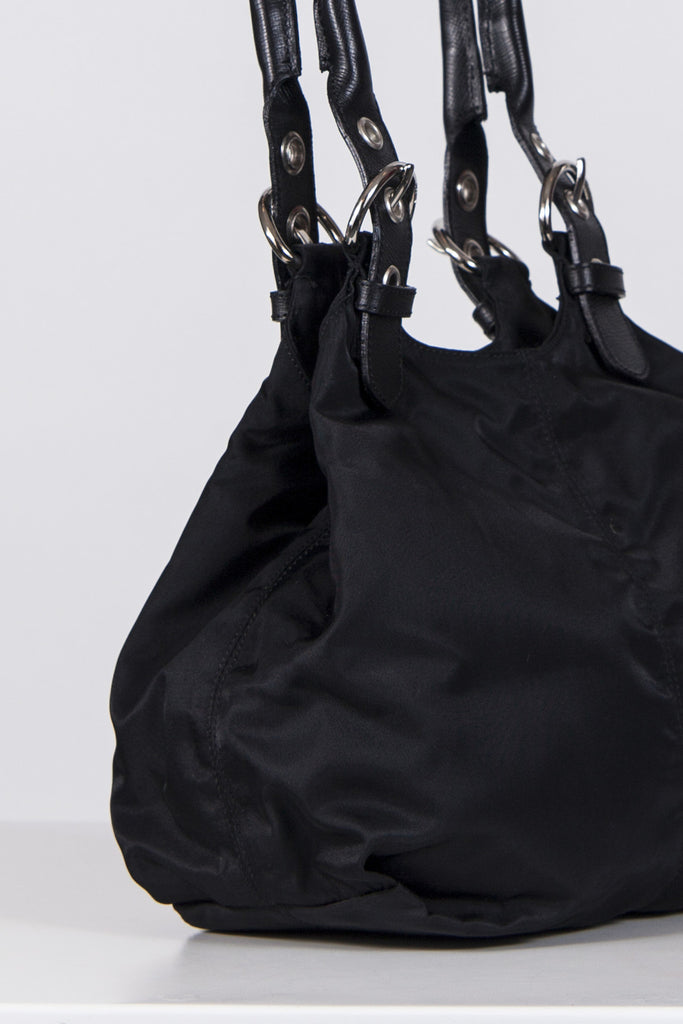 Tessuto bag with leather handles by Prada