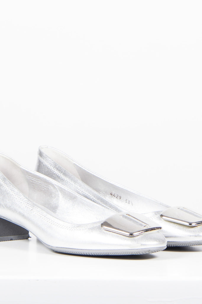 Metallic pumps with buckle detail by Prada