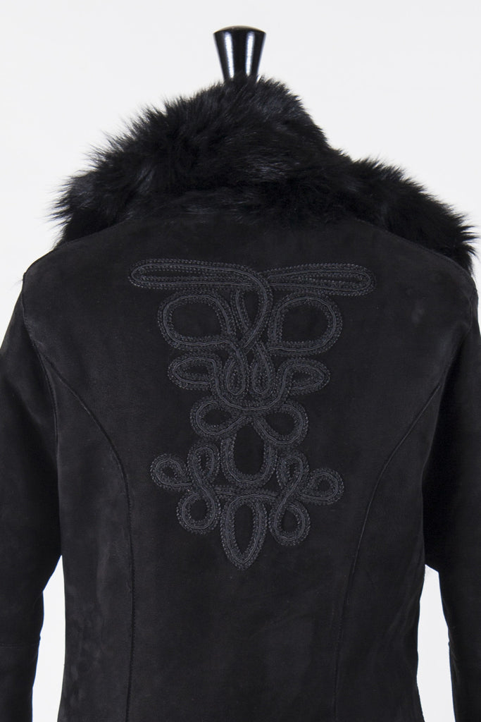 Embroidered full-length shearling coat by Ralph Lauren