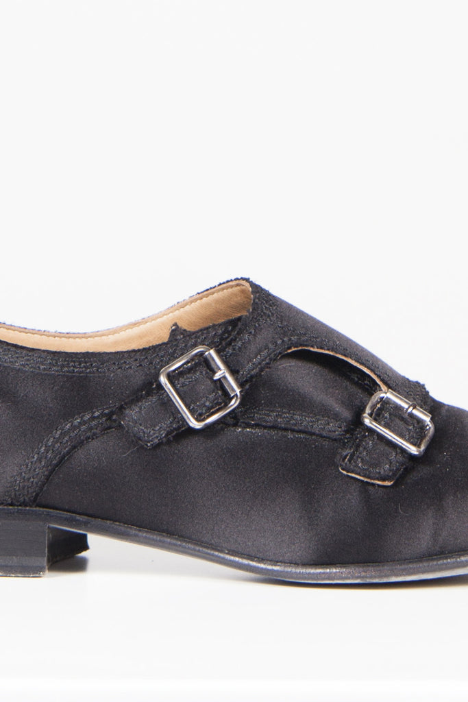 Satin-covered leather monk shoes by Lanvin