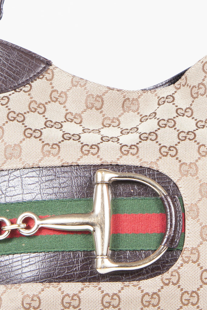 Monogrammed hasler horsebit bag by Gucci