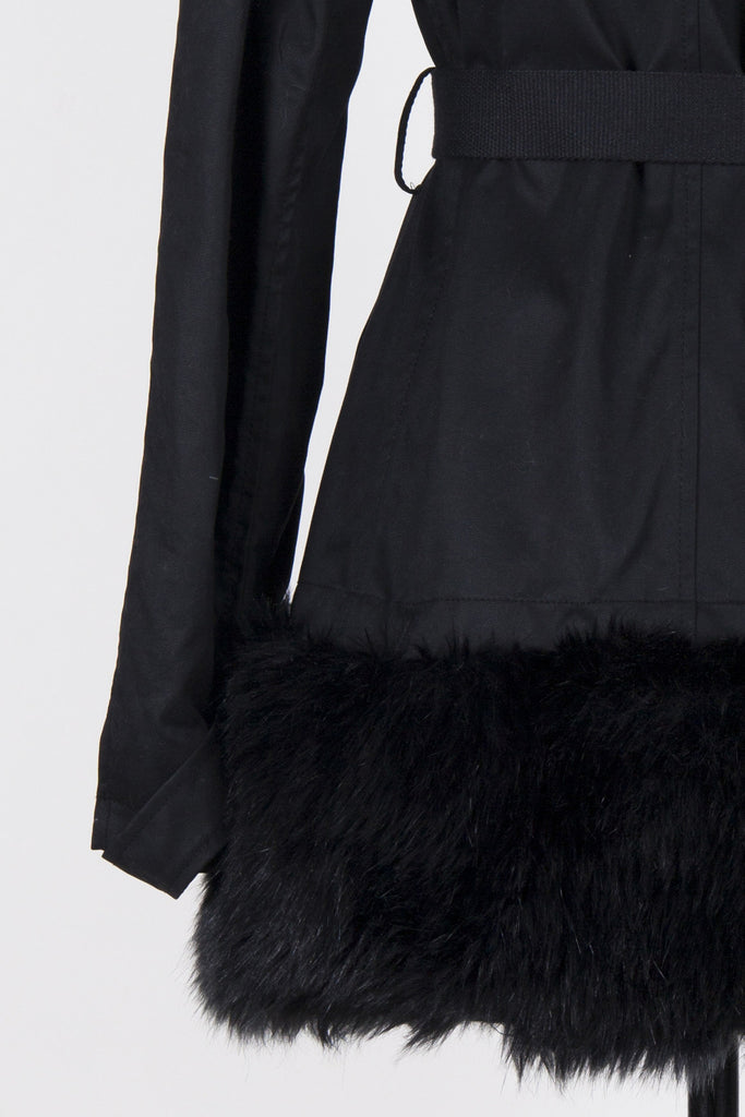 Jacket with detachable faux fur trims by Pinko