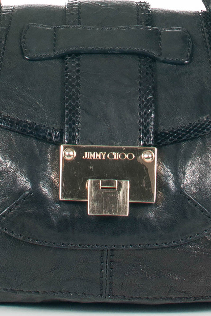 Biker Leather with Snake trim Messenger Bag by Jimmy Choo