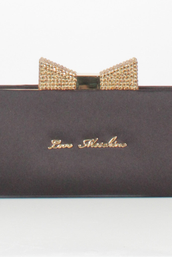 Satin diamante bow Clutch by Love Moschino