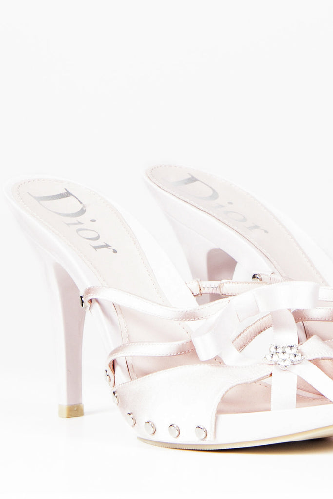 Diamante flower and ribbon sandals by Christian Dior