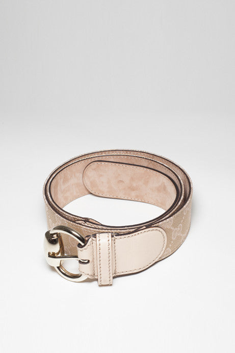Monogrammed Gucci Gold Buckle Belt by Gucci