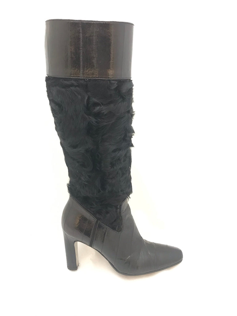 Leather and Fur Knee High Boots by Dolce & Gabbana