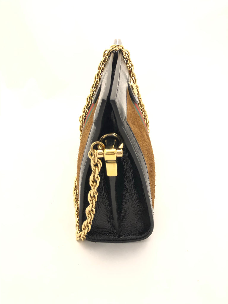 Ophidia Patent Leather Trimmed Suede Bag by Gucci