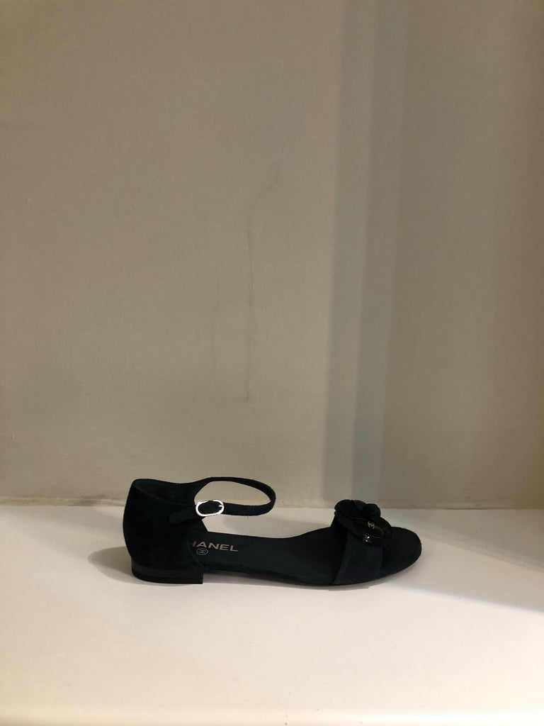 Camellia Suede Sandals by Chanel
