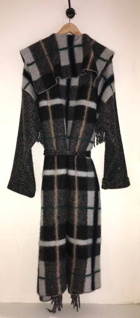 Fringed Checked Wool-Blend Coat by Stella McCartney