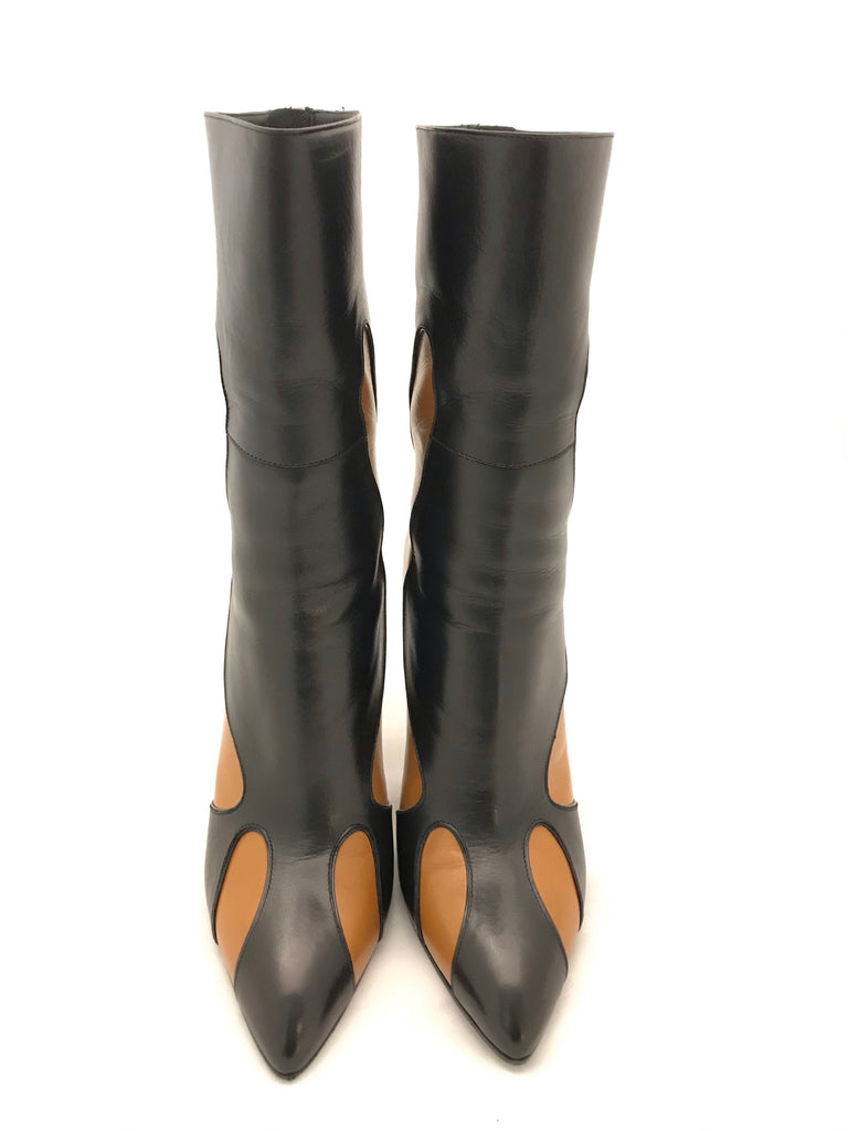 Kid Leather Mid Calf Heeled Boots by Bottega Veneta