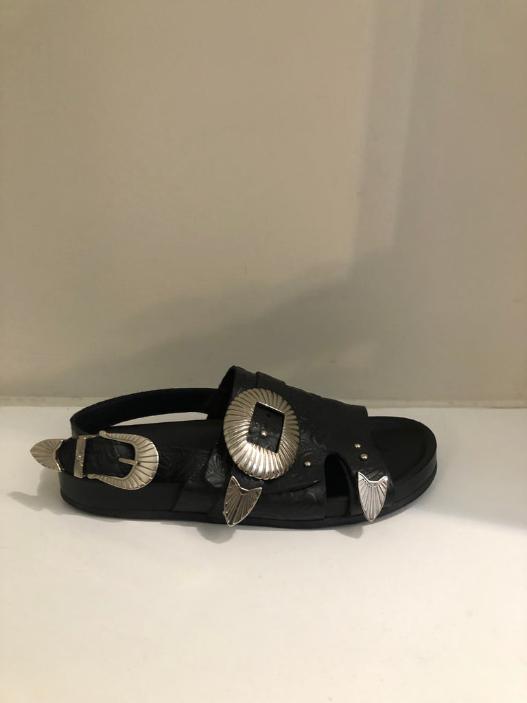Embossed Silver Buckle Sandals by Toga Pulla