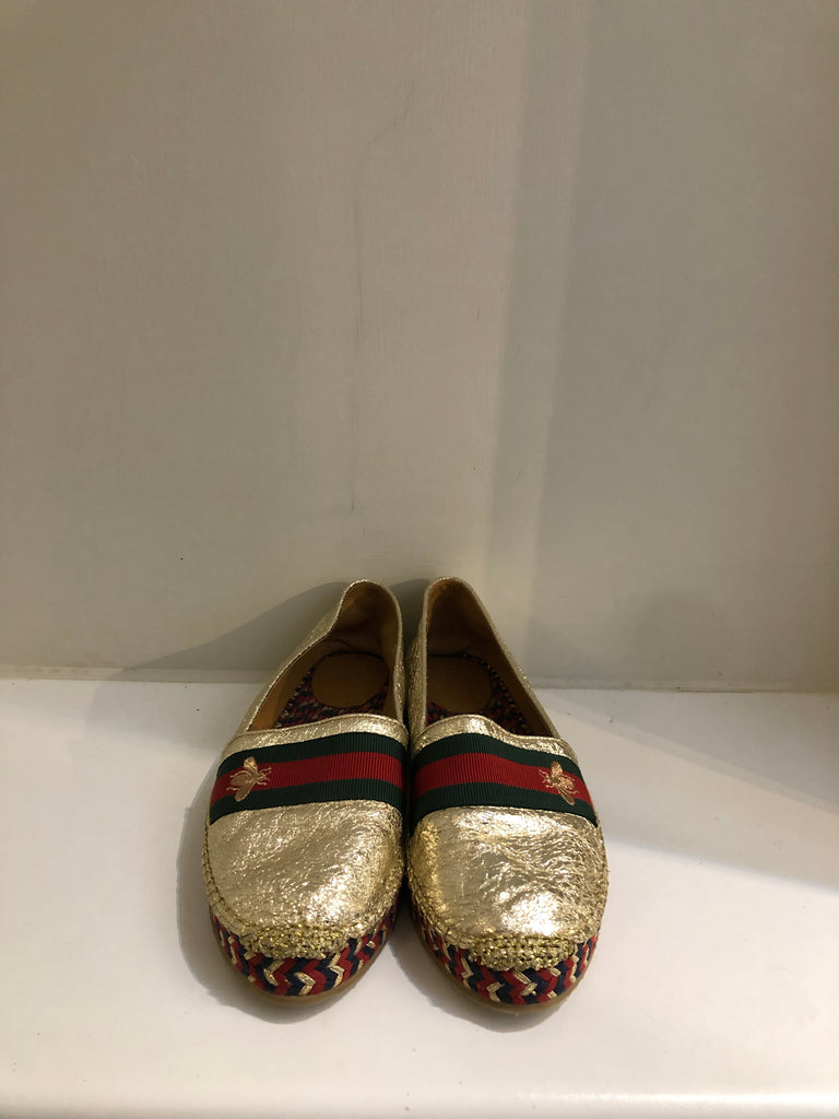 Bee Embroidered Gold Espadrilles by Gucci