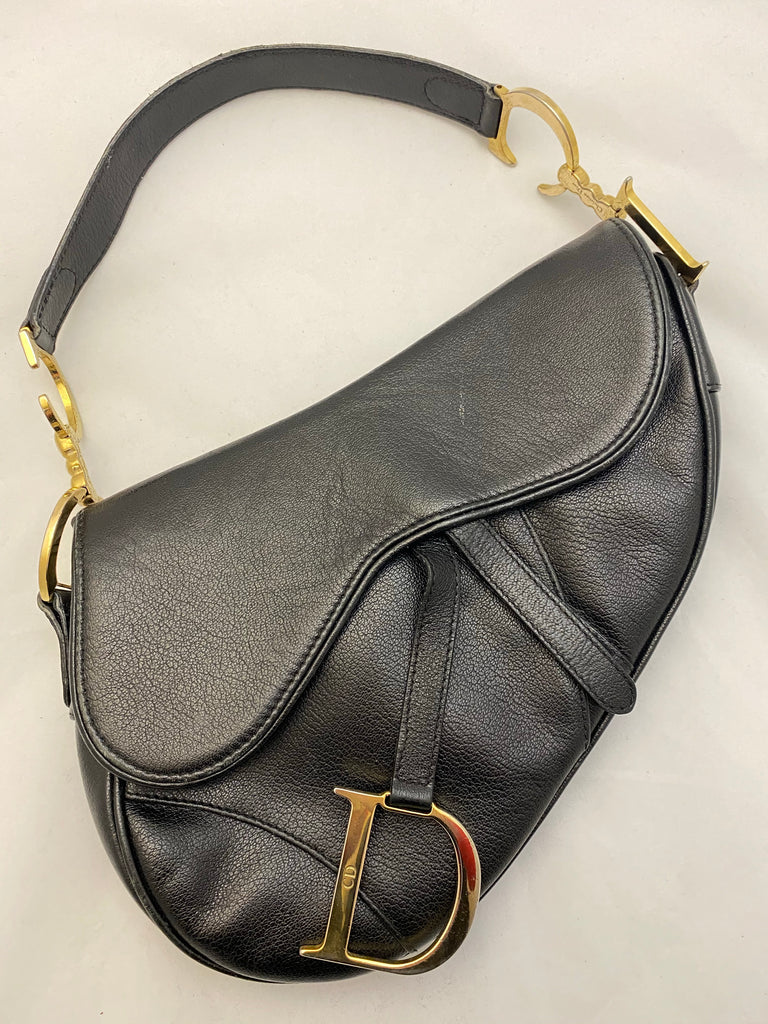 Vintage Leather Saddle Bag by Christian Dior