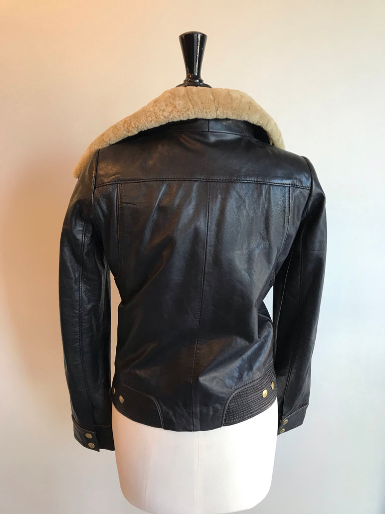 Leather Flying Jacket by Maje
