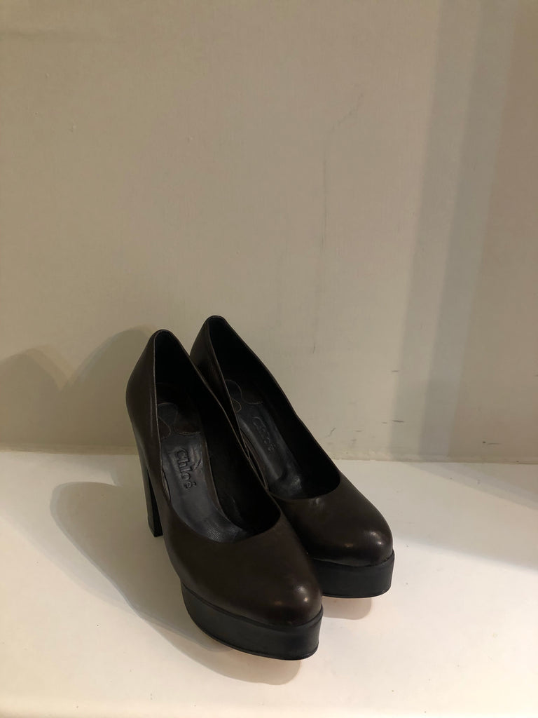 Chocolate Platform Pumps by Chloe