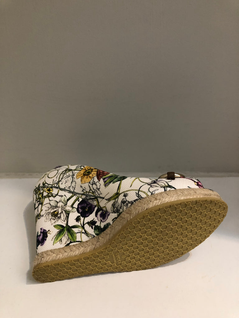Charlotte Floral Infinity Horsebit Wedges by Gucci
