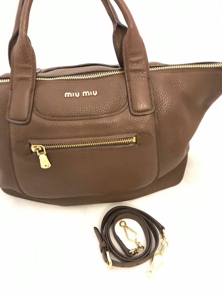 Bauletto Leather Satchel by Miu Miu