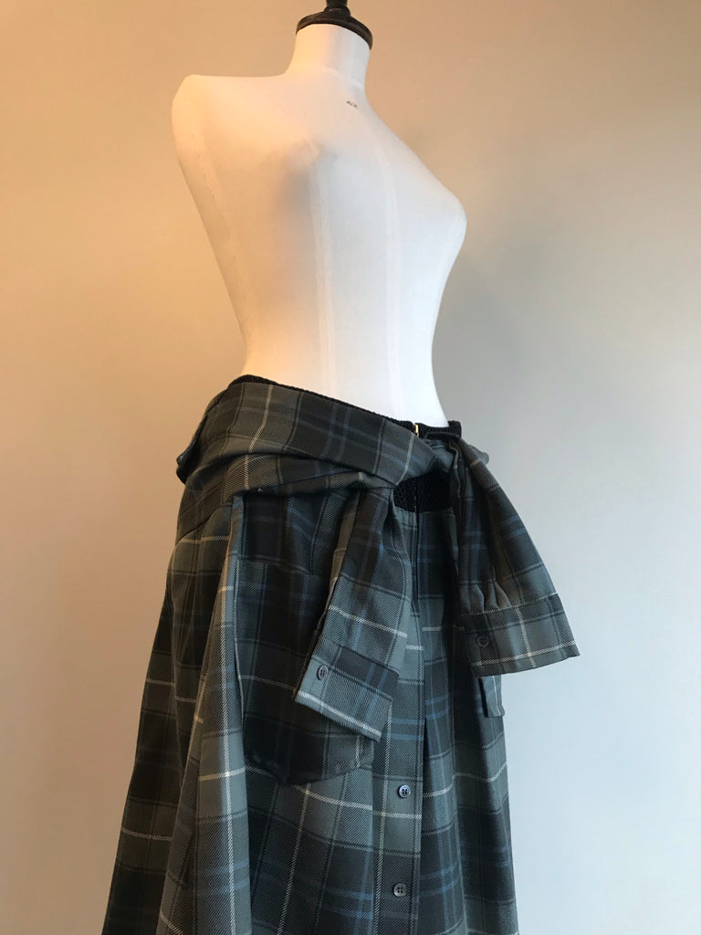 Tartan Wool Shirt Skirt by David Szeto