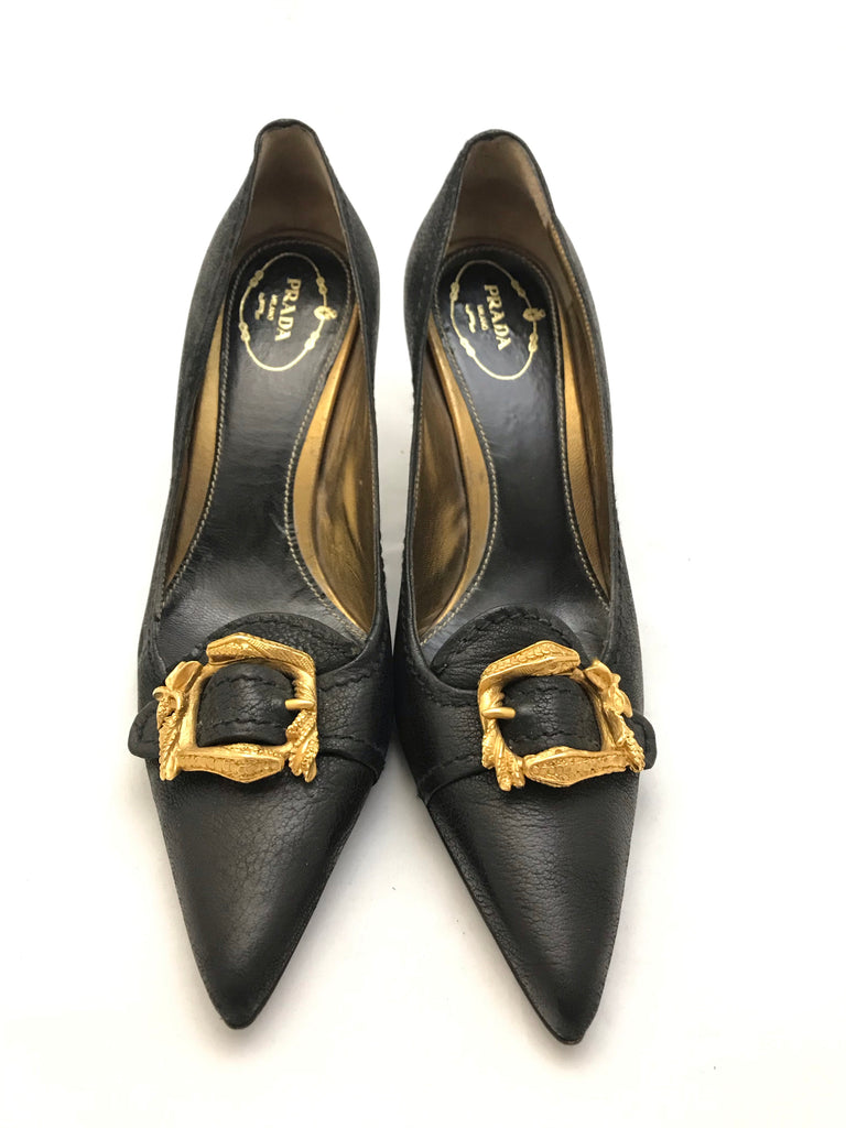 Gold Buckle Heels by Prada