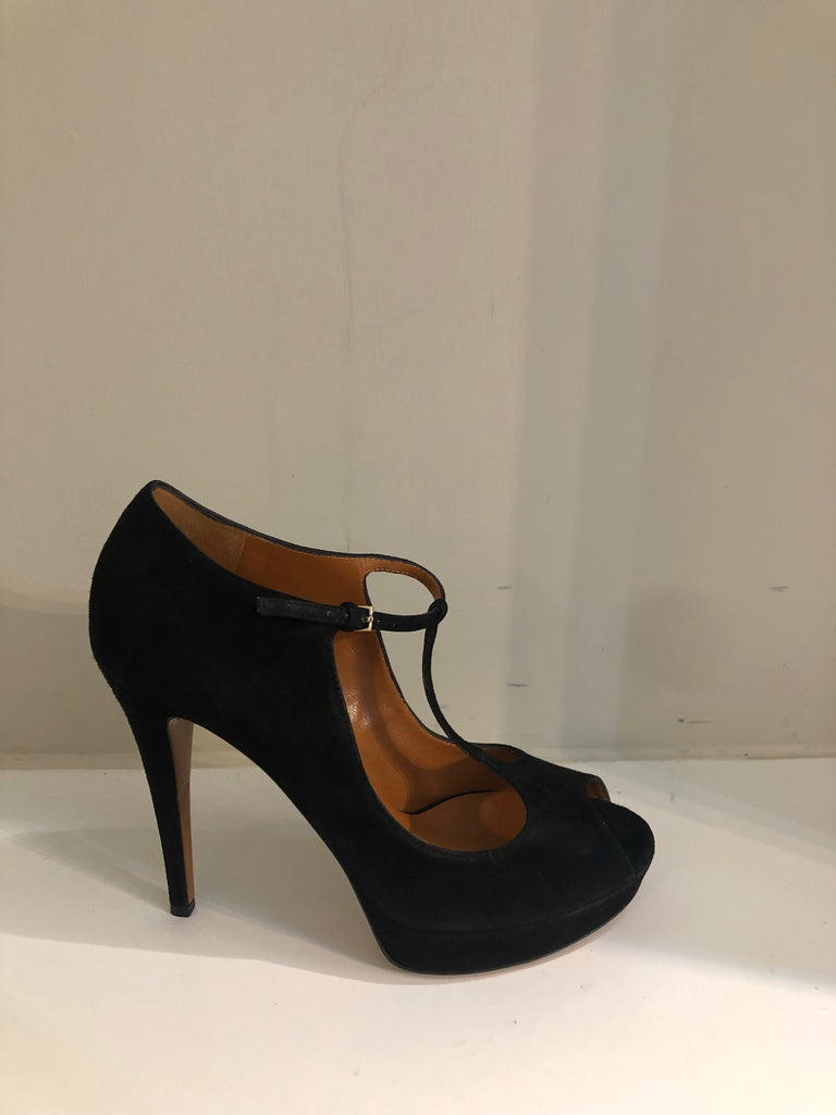 Charlotte Mary Jane Suede Peep Toe Heels by Gucci