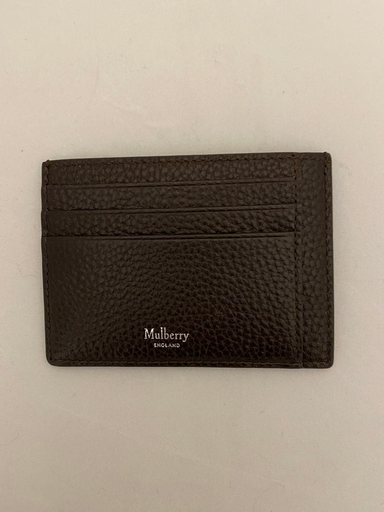 Chocolate Grained Card Case by Mulberry
