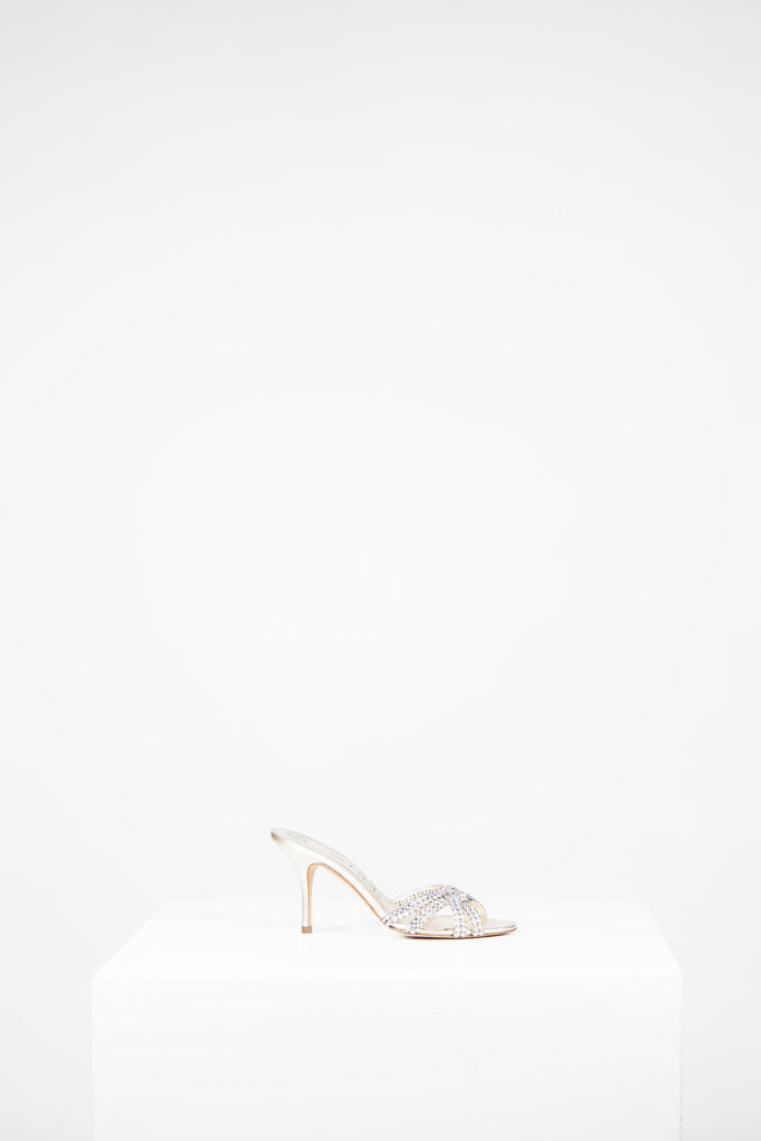 Cross-over strap diamante front mules by Gina
