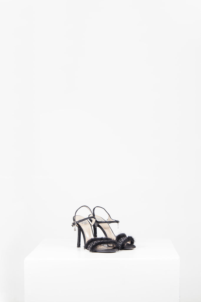 Fur-trimmed ankle strap heels by Versace